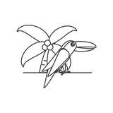 toucan bird animal with palm tree