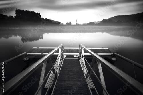 Acrylglas Pier Muelle en blanco y negro