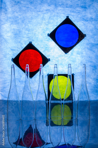 Abstract still life with transparent objects on blue background © i_valentin