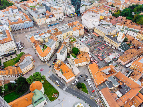 aerial view of zagreb old city - 260816071