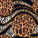 Chain seamless pattern with belt, zebra and leopard skin elements. Animal print. Baroque trend. Vector illustration - 260817453