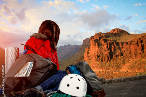 Woman and mountains
