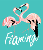 Two colored flamingos. Coral and teal. Vector illustration.