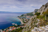 Beautiful aerial view of the coastline and the Adriatic sea, Omis town, Dalmatia region, Croatia