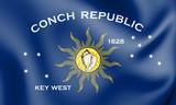3D Flag of Key West (Florida), USA.