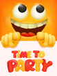 Time to party invitation card with group of yellow smile cartoon characters. - 260823004