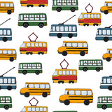 Vector transportation seamless pattern.Children repeating background with bus, tram, school bus, trolleybus. Endless backdrop for kids with public transport