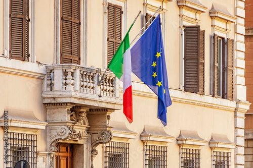 Italian and european union flags in Rome © pab_map