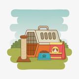 pudełko do transportu zwierząt i jedzenie