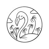 Black and white linear vector illustration of tropical flamingo bird with palm trees and clouds for print, colouring, stamp design.