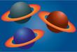 Tres planetas con anillos. - 260851428