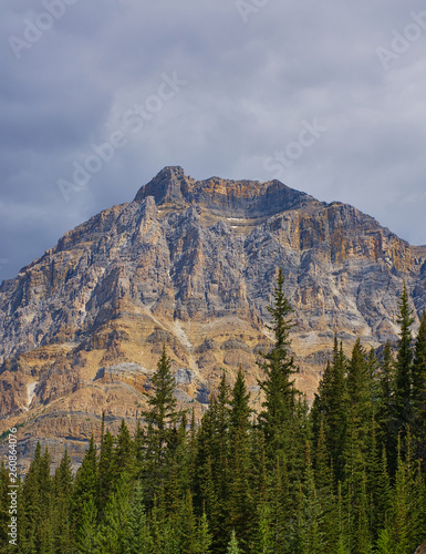 Surrounded by mountains and lakes in Rocky mountain ( Canadian Rockies ). Near Calgary. Portrait, fine art. Jasper, Yoho and Banff National Park. Alberta, British Columbia, Canada: August 4, 2018 - 260864076