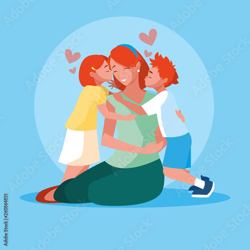 mother with cute children avatar character - 260864851