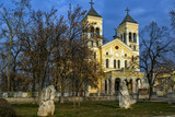 Sunset view of The Roman Catholic church Most holy Heart of Jesus in town of Rakovski, Bulgaria