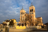 Sunset view of The Roman Catholic church of St Michael the Archangel in town of Rakovski, Bulgaria