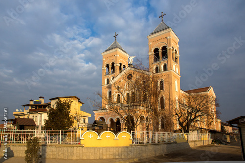 Sunset view of The Roman Catholic church of St Michael the Archangel in town of Rakovski, Bulgaria © Stoyan Haytov