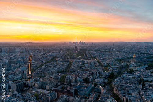 Aerial view of Paris and Eiffel tower at sunset in Paris, France. © ake1150