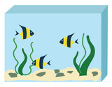Aquarium with three fishes vector illustration on white background