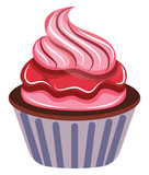 Chocolate cupcake with raspberry icing illustration vector on white background
