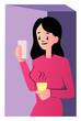 Pretty cartoon woman in pink dress vector illustartion on white background