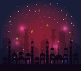 castle withs stars and moons to ramadan kareem celebration