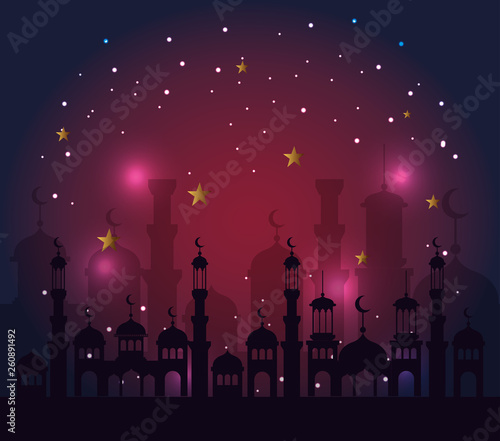 castle withs stars and moons to ramadan kareem celebration © Gstudio Group