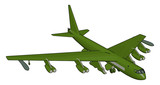 Green military airplane with missiles vector illustration on white background