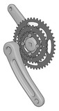 Grey bike chain rings with pedal crank arms vector illustration on white background