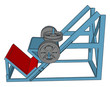3D vector illustration of blue and red weight lifting machine on white background