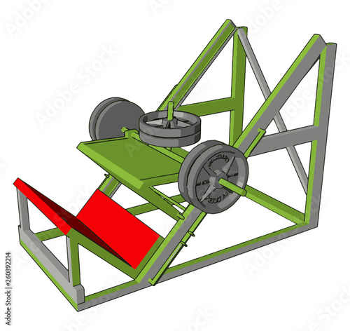 3D vector illustration of a red and green gym weight lifting device on a white background