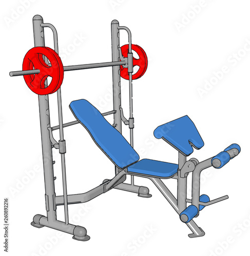 3D vector illustration of a blue gym weight lifting achine on white background