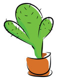 A green cactus plant potted in an earthen pot provides extra style to the space occupied vector color drawing or illustration