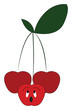 Three cherry fruits hanging from a single branch looking at different directions vector color drawing or illustration
