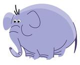 Rysowanie duży błękitny słoń z długim bagażnika koloru wektorowym rysunkiem lub ilustracją