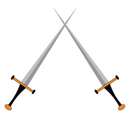 Two sharp weapons used for the combat sports called fencing vector color drawing or illustration