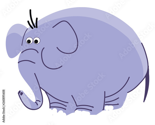 fototapeta na ścianę Drawing of a big blue elephant with long trunk vector color drawing or illustration