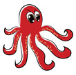 An angry red octopus with its tentacles vector color drawing or illustration