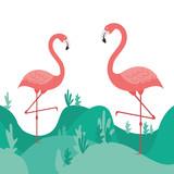 pink flamingo isolated icon
