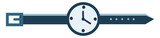 A simple stylist blue wrist watch with a white dial vector color drawing or illustration