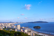 Aerial view of Santos city, county seat of Baixada Santista, on the coast of Sao Paulo state, Brazil.