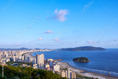 Aerial view of Santos city, county seat of Baixada Santista, on the coast of Sao Paulo state, Brazil.