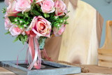 beautiful pink rose flower artificial bouquet