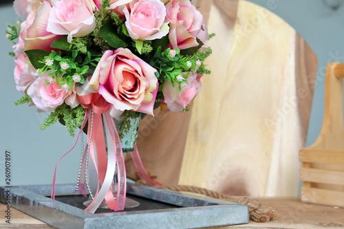 beautiful pink rose flower artificial bouquet