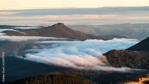 cloud in the valley, Dawn, Mt Wellington - 260911819