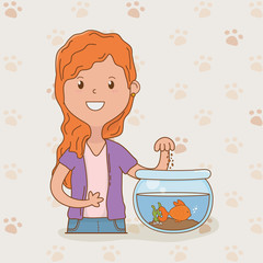 young woman with cute fish mascot