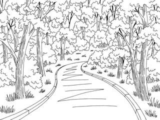 Forest road graphic black white landscape sketch illustration vector