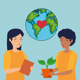 ecology planet and women with plants conservation