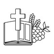 holy bible with cross and grapes