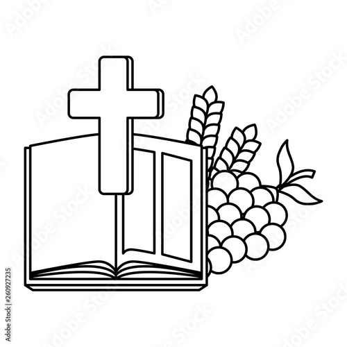 holy bible with cross and grapes - 260927235
