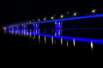 bridge river lights reflection ice drift night